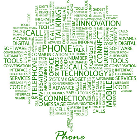 PHONE. Illustration with different association terms in white background. Vector