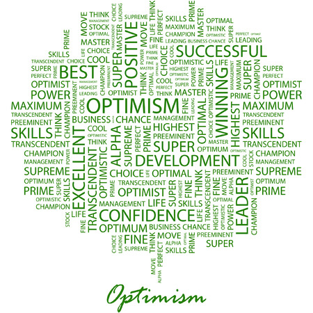optimism: OPTIMISM. Illustration with different association terms in white background. Illustration
