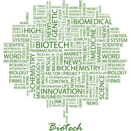 BIOTECH. Illustration with different association terms in white background.