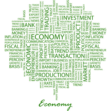 causes: ECONOMY. Illustration with different association terms in white background.