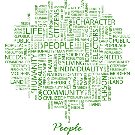commonality: PEOPLE. Illustration with different association terms in white background. Illustration
