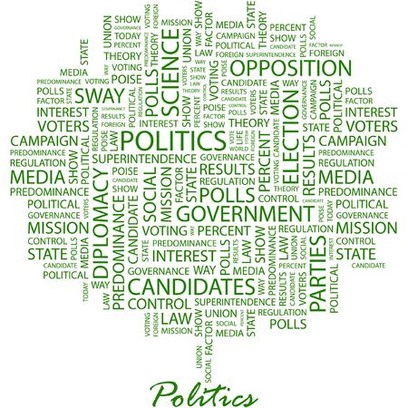 democrats: POL�TICA. Ilustraci�n con t�rminos de asociaci�n diferente en fondo blanco.  Vectores