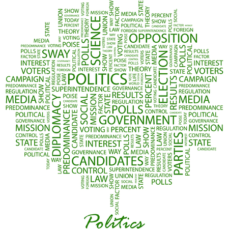 politics: POLITICS. Illustration with different association terms in white background.