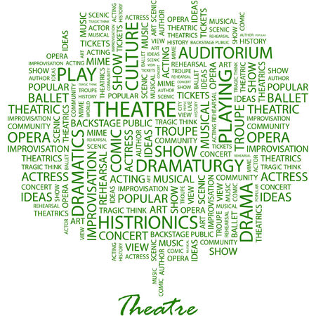 theatrics: THEATRE. Illustration with different association terms in white background.