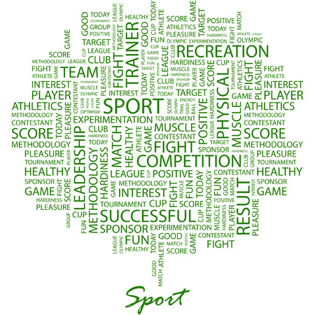 olympic game: SPORT. Illustration with different association terms in white background.