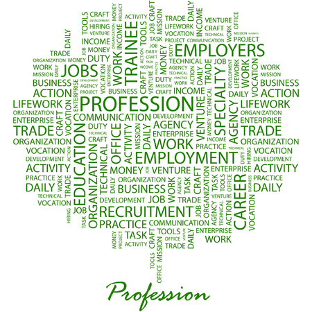 lifework: PROFESSION. Illustration with different association terms in white background.