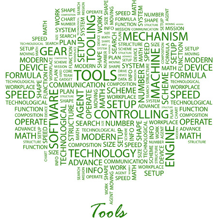 TOOLS. Illustration with different association terms in white background. Vector