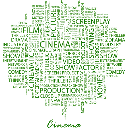 cinematograph: CINEMA. Illustration with different association terms in white background.