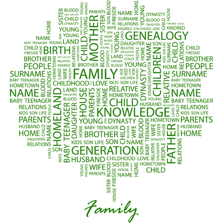 kindred: FAMILY. Illustration with different association terms in white background. Illustration