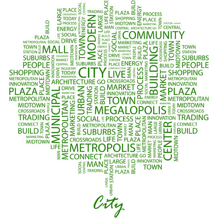 mall signs: CITY. Illustration with different association terms in white background.