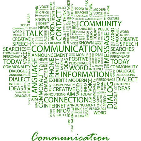 advisement: COMMUNICATION. Illustration with different association terms in white background.