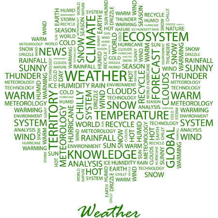 weather terms: WEATHER. Illustration with different association terms in white background.