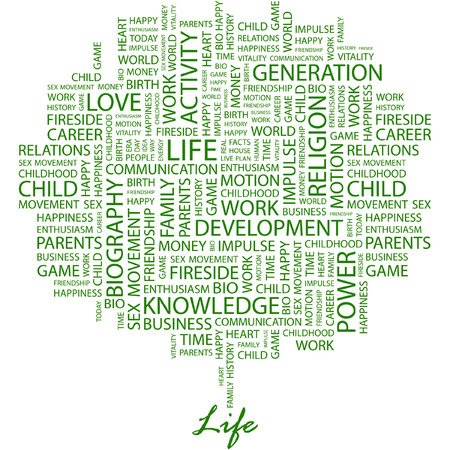 biography: LIFE. Illustration with different association terms in white background.