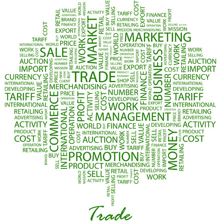 embargo: TRADE. Illustration with different association terms in white background.