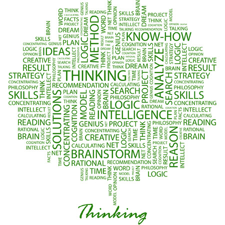 brain and thinking: THINKING. Illustration with different association terms in white background.