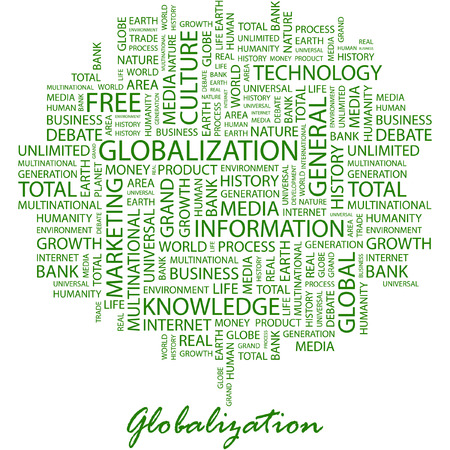 transnational: GLOBALIZATION. Illustration with different association terms in white background. Illustration