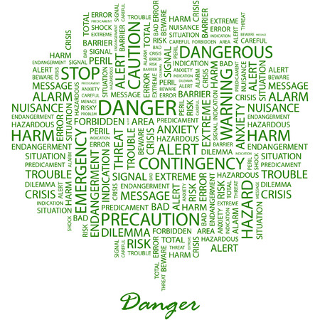 hazardous work: DANGER. Illustration with different association terms in white background.