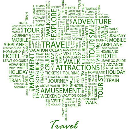 trip travel: TRAVEL. Illustration with different association terms in white background.