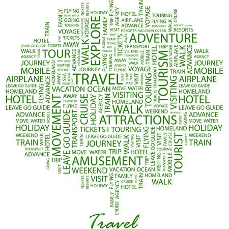 agencia de viajes: VIAJES. Ilustraci�n con t�rminos de asociaci�n diferentes en fondo blanco. Vectores