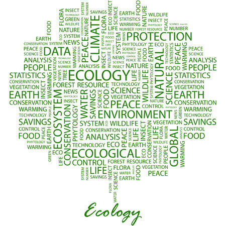 ECOLOGY. Illustration with different association terms in white background. Vector