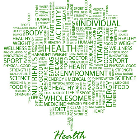 typography: HEALTH. Illustration with different association terms in white background.