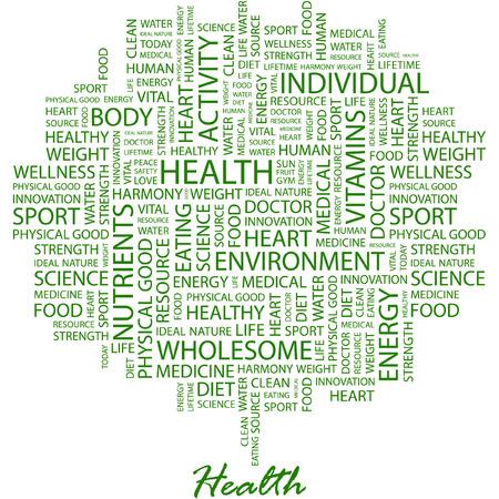 equipe medica: SALUTE. Illustrazione con termini diversi associazione in sfondo bianco.