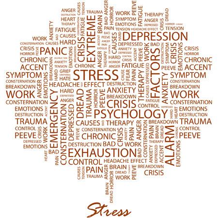 ストレス。白い背景の異なる協会用語とイラスト。