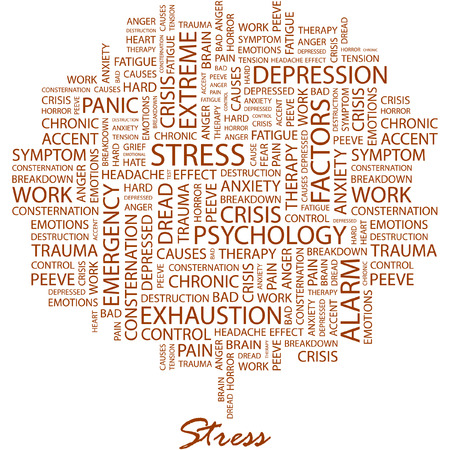 STRESS. Illustration with different association terms in white background. Vector