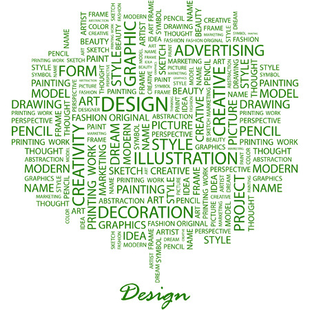package printing: DESIGN. Illustration with different association terms in white background.