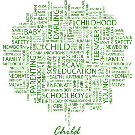 bambino: CHILD. Illustration with different association terms in white background.