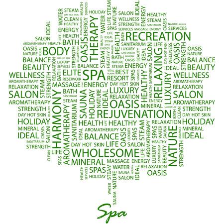 massage therapie: SPA. Afbeelding met verschillende associatie voorwaarden in de witte achtergrond. Stock Illustratie