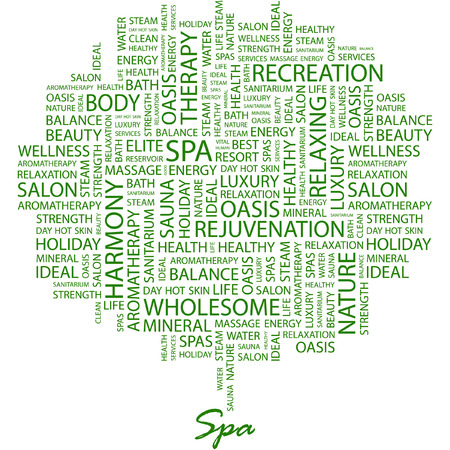 spa resort: SPA. Illustration with different association terms in white background. Illustration