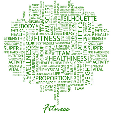 FITNESS. Illustration with different association terms in white background. Vector
