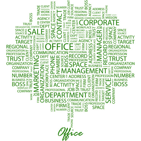keywords advertise: OFFICE. Illustration with different association terms in white background.