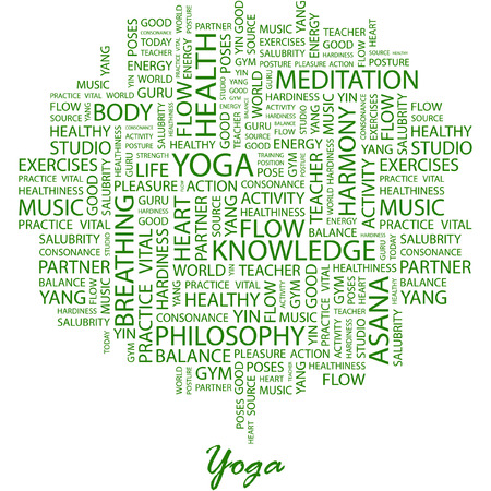 YOGA. Illustration with different association terms in white background.