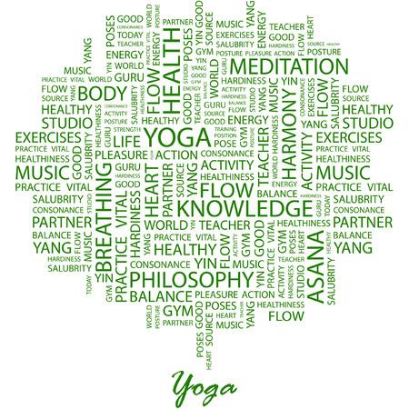 yoga meditation: YOGA. Illustrazione con associazione diversi termini a sfondo bianco. Vettoriali