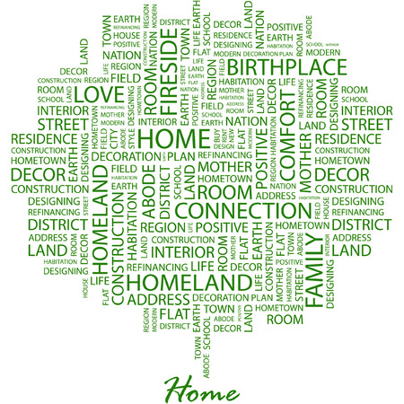birthplace: HOME. Illustration with different association terms in white background.