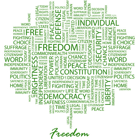 suffrage: FREEDOM. Illustration with different association terms in white background. Illustration