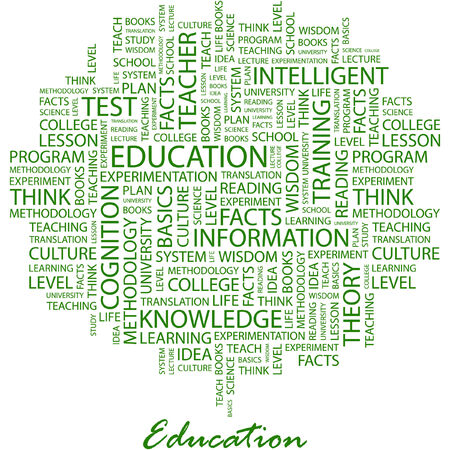 knowledge clipart: EDUCATION. Illustration with different association terms in white background.