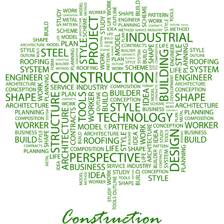 CONSTRUCTION. Illustration with different association terms in white background. Vector