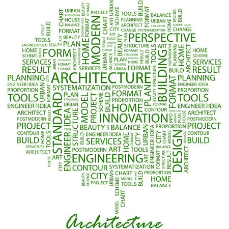 건축가: ARCHITECTURE. Illustration with different association terms in white background. 일러스트