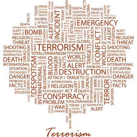 despotism: TERRORISM. Illustration with different association terms in white background.