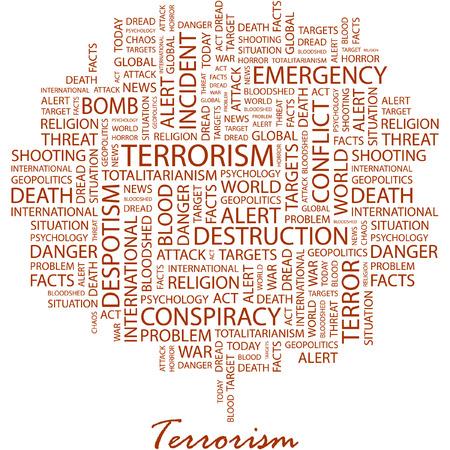 bloodshed: TERRORISMO. Ilustraci�n con t�rminos de asociaci�n diferentes en fondo blanco.