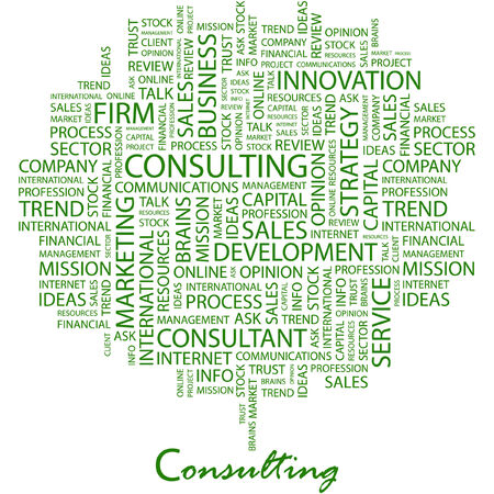 financial consultant: CONSULTING. Illustration with different association terms in white background.