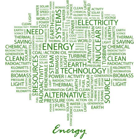 ENERGÍA. Ilustración con términos de asociación diferente en fondo blanco.  Ilustración de vector