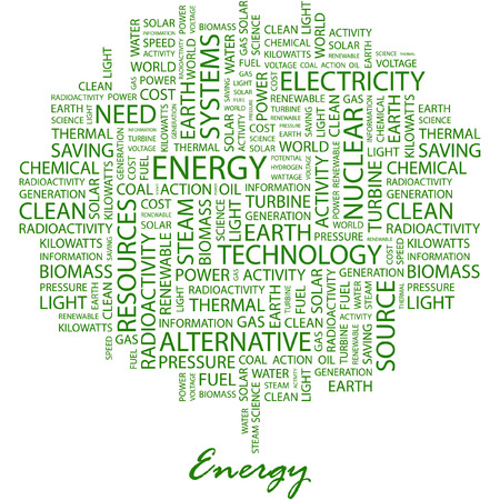 steam turbine: ENERGY. Illustration with different association terms in white background.
