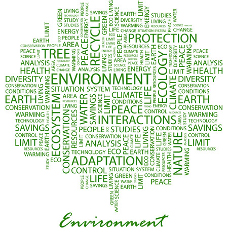 ENVIRONMENT. Illustration with different association terms in white background. Stock Vector - 7170235