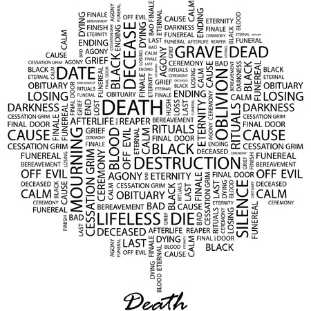 decease: DEATH. Illustration with different association terms in white background. Illustration