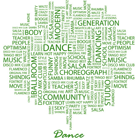 DANCE. Illustration with different association terms in white background. Vector