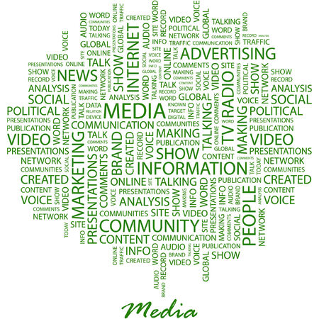 MEDIA. Illustration with different association terms in white background. Vector